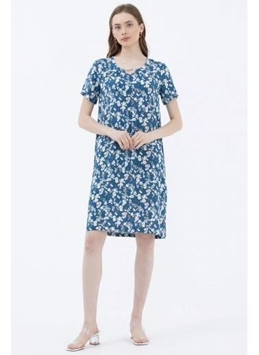 Sementa Çiçek Desenli Rahat Kalıp Elbise - Mavi Mavi